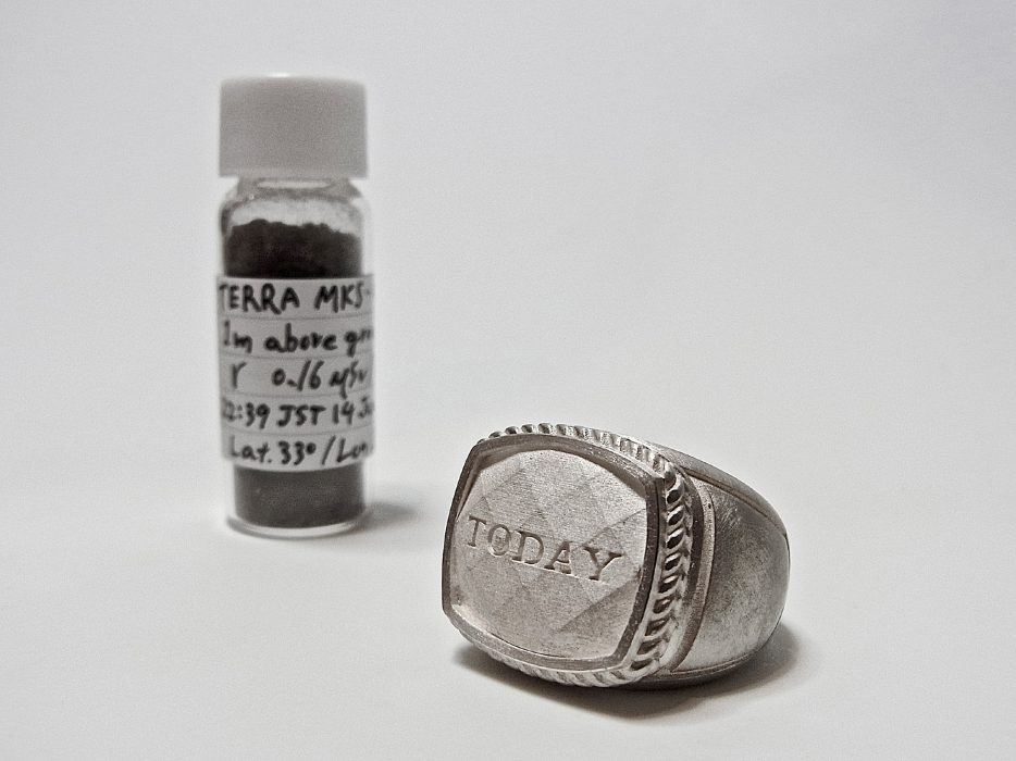 TODAY. Ring/Object Material: Silver, Soil, Sample bottle, Paper,Ink, 2013
