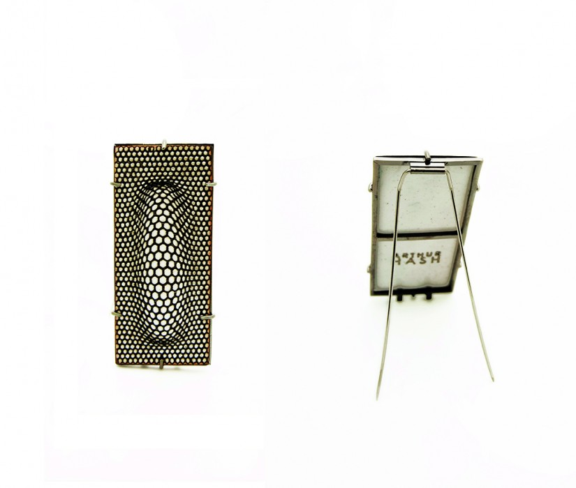 Arthur Hash. Optibrooch, 2012, sterling silver, enamel copper and stainless steel