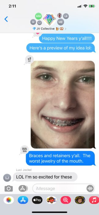 Emily's braces and inspo for her work